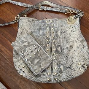 Michael Kors Snakeskin Bag with Matching Wallet